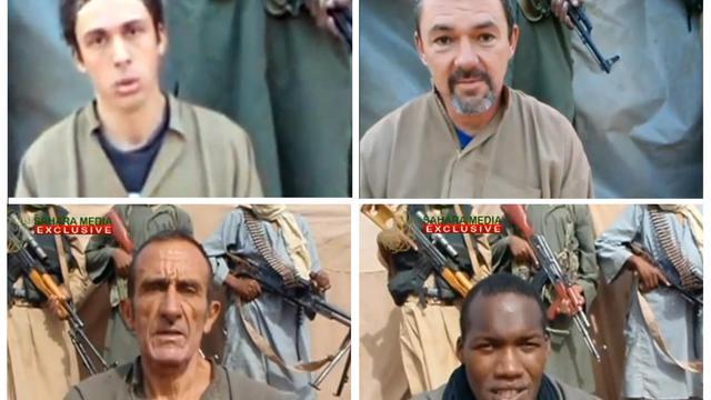 Montage de photos des otages français au Sahel:Marc Féret, Pierre Legrand, Daniel Larribe et Thierry Dole (GàD et de Haut en Bas) [ / Sahara Medias/AFP/Archives]