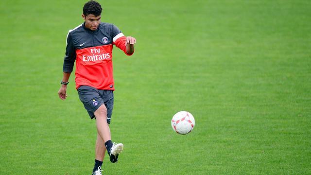 Le défenseur brésilien du PSG Thiago Silva à l'entraînement au Camp des Loges, à Saint-Germain-en-Laye, le 12 septembre 2012. [Martin Bureau / AFP/Archives]