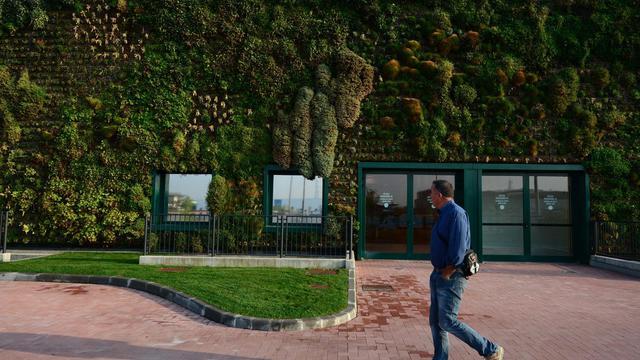 Un homme marche devant le plus grand jardin vertical du monde, le 18 septembre 2012 à Rozzano, près de Milan [Olivier Morin / AFP]