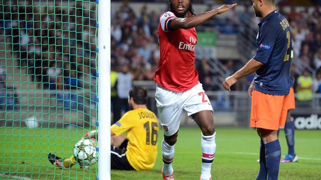 L'attaquant ivoirien d'Arsenal Gervinho, buteur contre Montpellier, en Ligue des champions, le 18 septembre 2012 à La Mosson. [Anne-Christine Poujoulat / AFP]
