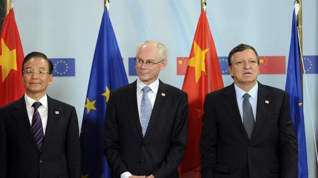 De g à d: Wen Jiabao, Jose Manuel Barroso et Herrman Van Rompuy le 20 septembre 2012 à Bruxelles [Thierry Charlier / AFP]