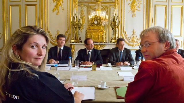 L'intersyndicale de PSA-Aulnay reçue à l'Elysée, à Paris, le 20 septembre 2012 [Bertrand Langlois / AFP]
