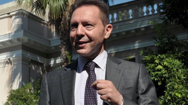 Le ministre grec des Finances, Yannis Stournaras, le 20 septembre 2012 à Athènes [Louisa Gouliamaki / AFP]
