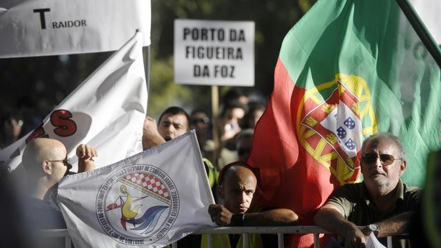 Des Portugais manifestent contre l'austérité le 21 septembre 2012  à Belem, près de Lisbonne [Patricia de Melo Moreira / AFP/Archives]