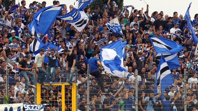 Les supporteurs de Bastia lors du match contre le PSG, le 22 septembre 2012. [Pascal Pochard Casabianca / AFP]