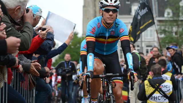 Le Belge Philippe Gilbert peu avant le départ de la course en ligne des Mondiaux de cyclisme à Maastricht (Pays-Bas), le 23 septembre 2012. [John Thys / AFP]