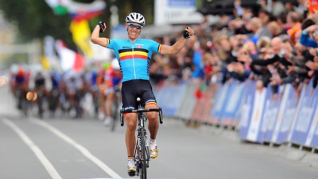Le Belge Philippe Gilbert, sacré champion du monde de cyclisme sur route, le 23 septembre 2012 à Valkenburg. [Franck Fife / AFP]