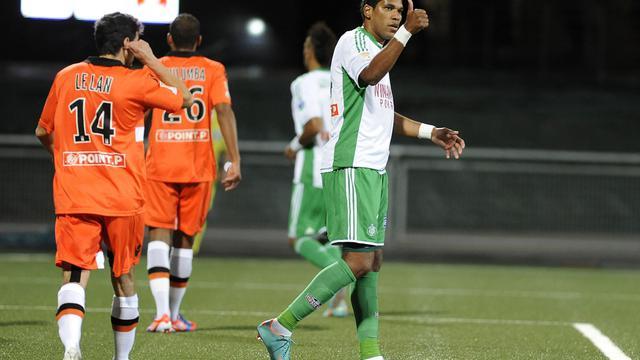 Le joueur brésilien de l'AS Saint-Etienne Brandao durant le match de Coupe de la Ligue contre Lorient le 26 septembre 2012. [Jean-Sebastien Evrard / AFP]