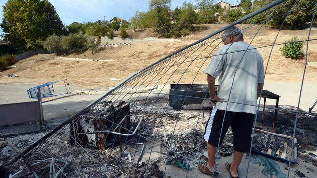 Les restes du campement rom à Marseille le 28 septembre 2012 [Anne-Christine Poujoulat / AFP]