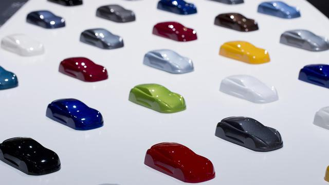 Un nuancier de couleurs Hyundai présenté au Mondial de l'auto à Paris, le 28 septembre 2012 [Joel Saget / AFP]