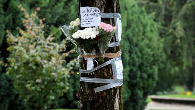 Des fleurs déposées le 30 septembre 2012 dans le parc de la Villeneuve à Echirolle  en hommage à Kévin et Soliane [Jean-Pierre Clatot / AFP]