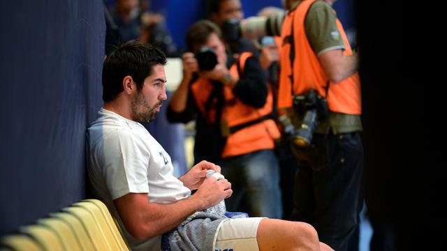 Le handballeur de Montpellier Nikola Karabatic avant le match de Championnat face au PSG, à la salle Coubertin de Paris, le 30 septembre 2012. [Franck Fife / AFP/Archives]