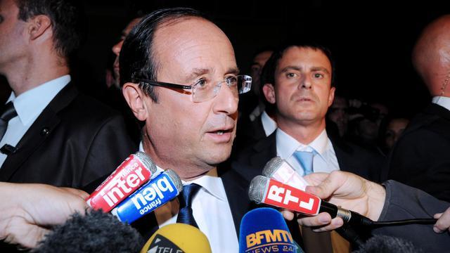 François Hollande (g) et Manuel Valls (d), le 1er octobre 2012 à Echirolles, près de Grenoble [Jean-Pierre Clatot / AFP]