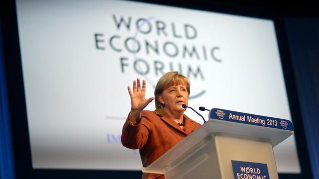 La chancelière allemande Angela Merkel lors de son discours au forum de Davos, en Suisse, le 24 janvier 2013 [Johannes Eisele / AFP]