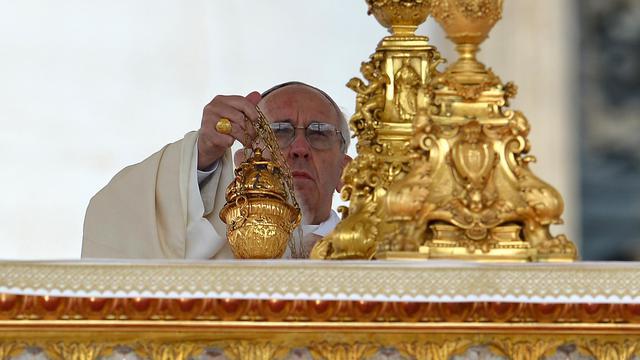 Le pape François le 123 mai 2013 à la basilique Saint-Pierre à Rome [Vincenzo Pinto / AFP]