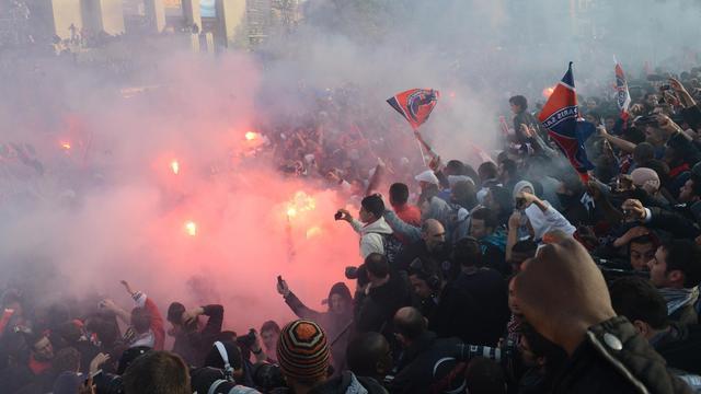 Des supporters du PSG le 13 mai au Trocadéro à Paris [Franck Fife / AFP]