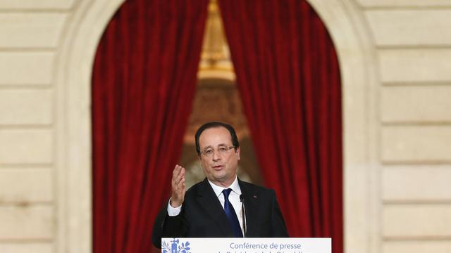 François Hollande lors de sa conférence de presse le 16 mai 2013 [Patrick Kovarik / AFP]