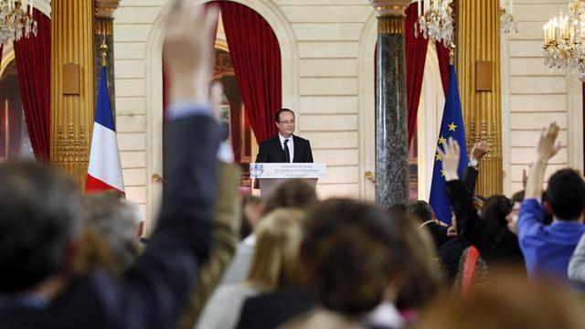 François Hollande lors de sa conférence de presse, le 16 mai 2013 à l'Elysée [Patrick Kovarik / AFP]