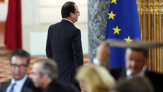François Hollande à l'issue de la conférence de presse le 16 mai 2013 à l'Elysée à Paris [Patrick Kovarik / AFP]