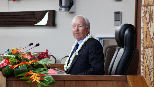 Le président élu de la Polynésie française Gaston Flosse, le 16 mai 2013 à Papeete [Gregory Boissy / AFP]
