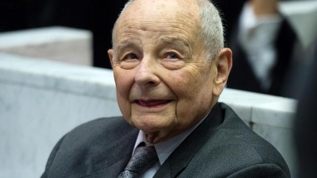 Jacques Servier, le fondateur des laboratoires Servier, le 14 mai 2012 au tribunal de Nanterre [Martin Bureau / AFP/Archives]