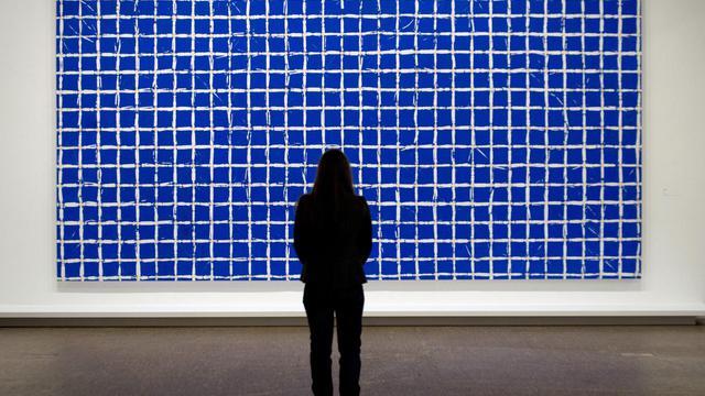 Une oeuvre de Simon Hantaï exposée le 21 mai 2013 au Centre Pompidou qui lui consacre une vaste rétrospective [Joel Saget / AFP]