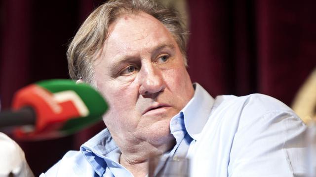 Gérard Depârdieu à Grozny, capitale de la Tchétchénie, le 21 mai 2013 [Elena Fitkulina / AFP]