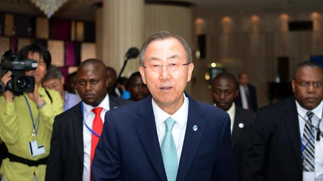 Ban Ki-Moon  le 22 mai 2013 à Kinshasa [Junior D. Kannah / AFP]