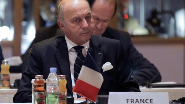 """Le ministre des Affaires étrangères Laurent Fabius participe au sommet """"Les amis de la Syrie"""", le 22 mai 2013 à Amman [Khalil Mazraawi / AFP]"""