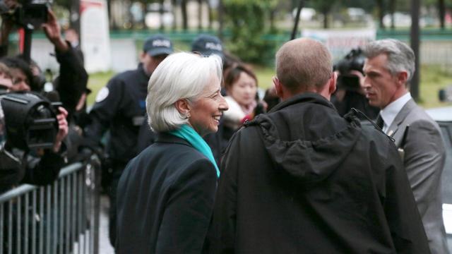 Christine Lagare à la sortie  de la Cour de justice de la République le 23 mai 2013 à Paris [Jacques Demarthon / AFP]