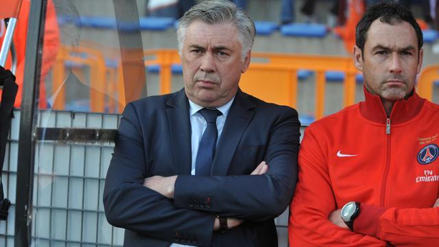 L'entraîneur du PSG Carlo Ancelotti lors du match der Ligue 1 contre Lorient, le 26 mai 2013 [Frank Perry / AFP]