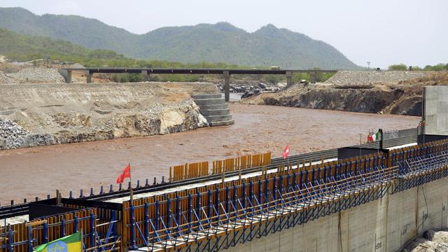 Une photo du 28 mai 2013 montre le barrage créé pour dévier le lit du Nil Bleu à Guba, en Ethiopie [William Lloyd-George / AFP]