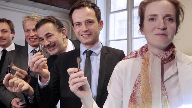 Franck Margain, Jean-François Legaret, Pierre-Yves Bournazel et  Nathalie Kosciusko-Morizet, le 29 mai 2013 à Paris [Jacques Demarthon / AFP]