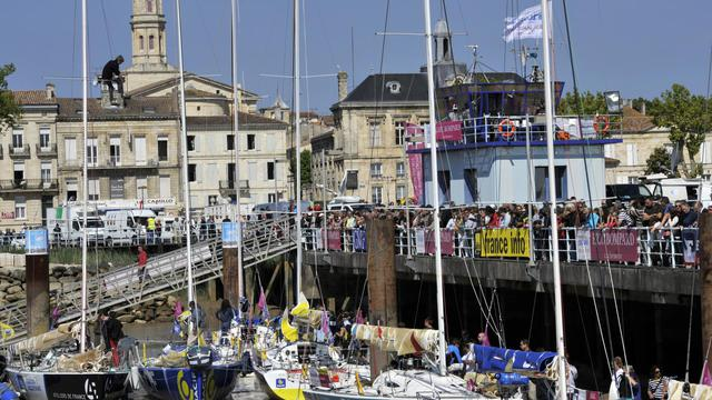 Quelques uns des 41 bateaux qui participent à la Solitaire du Figaro, course qui part de Pauillac en Gironde, le 2 juin 2013 [Mehdi Fedouach / AFP]