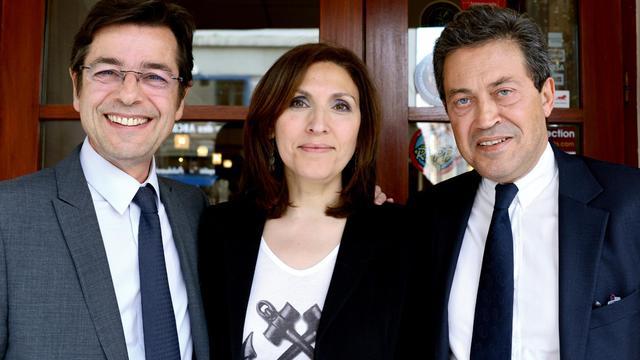 L'ancien député Emmanuel Hamelin (G), l'ex-secrétaire d'Etat à la Santé Nora Berra (C) et Georges Fenech (D) à Lyon, le 4 juin 2013 [Philippe Merle / AFP]
