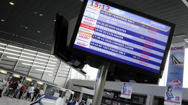 L'affichage des vols le 11 juin 2013 à Montpellier [Pascal Guyot / AFP]