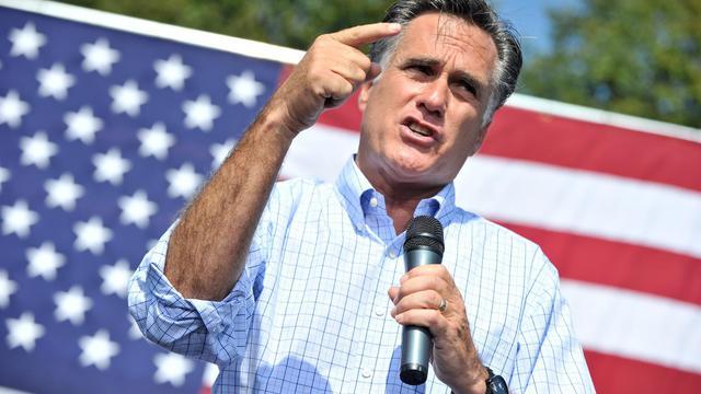 Mitt Romney, le candidat républicain à la Maison Blanche, en meeting le 13 septembre 2012 à Fairfax [Nicholas Kamm / AFP]