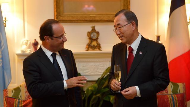 François Hollande et le secrétaire général de l'ONU Ban Ki-moon à New York, le 24 septembre 2012 [Eric Feferberg / Pool/AFP]