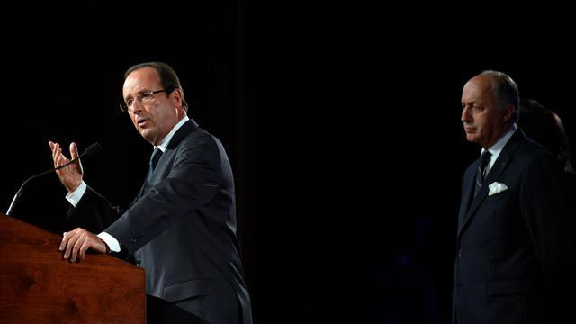 Le président François Hollande devant la communauté française installée à New York, le 25 septembre 2012 [Emmanuel Dunand / AFP]
