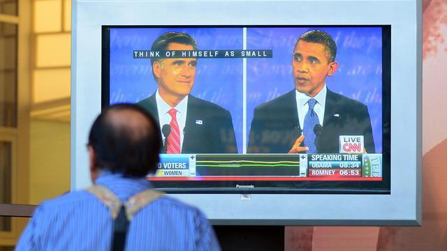 Le débat télévisé entre Barack Obama et Mitt Romney suivi  le 3 octobre 2012 depuis Sunset Boulevart à Hollywood [Frederic J. Brown / AFP]