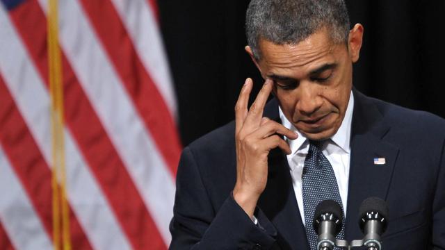 Barack Obama s'exprime lors d'une commémoration des victimes de la fusillade de l'école primaire Sandy Hook, le 16 décembre 2012 à Newtown, dans le Connecticut [Mandel Ngan / AFP]