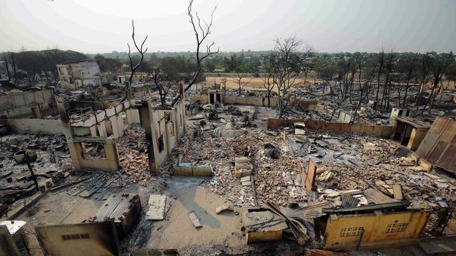 Vue générale le 23 mars 2013 de la ville de Meiktila, dans le centre de la Birmanie [Soe Than Win / AFP/Archives]
