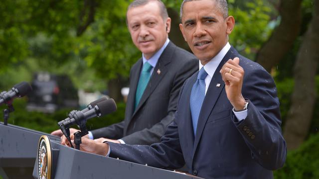 Recep Tayyip Erdogan et Barack Obama lors d'une conférence de presse le 16 mai 2013 à la Maison Blanche à Washington [Mandel Ngan / AFP]