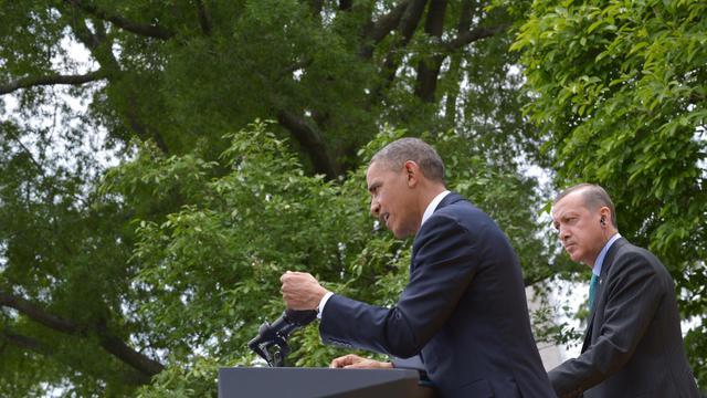 Barack Obama lors d'une conférence de presse avec le Premier ministre turc Recep Tayyip Erdogan, le 16 mai 2013 à Washington DC [Mandel Ngan / AFP]