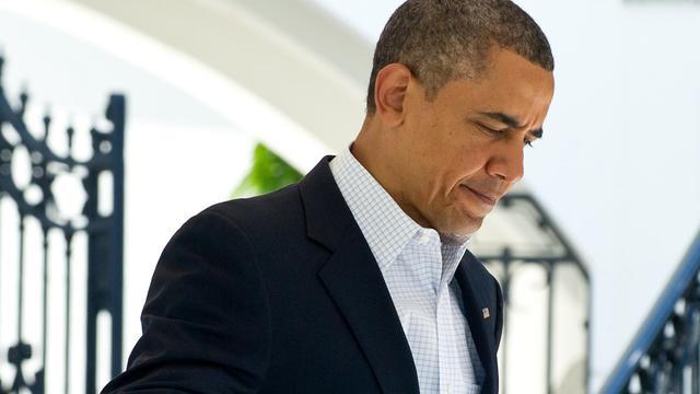 Barack Obama quitte la Maison blanche, le 26 mai 2013 à Washington, pour se rendre à Moore [Nicholas Kamm / AFP]