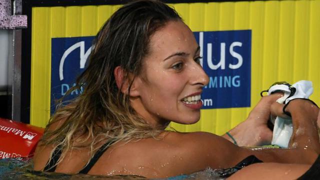 La Française Fantine Lesaffre championne  d'Europe du 400 m 4 nages à Glasgow le 3 août 2018 [FRANCOIS XAVIER MARIT / AFP]