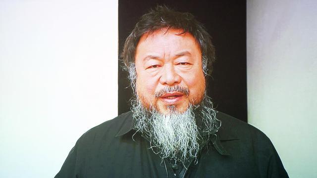 L'artiste chinois Ai Weiwei sur un écran à Rotterdam, le 1er février 2013 [Robert Vos / AFP/Archives]