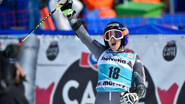 La Française Taïna Barioz exulte après sa 2e place lors du géant des finales de la Coupe du monde à St Moritz, le 20 mars 2016 [FABRICE COFFRINI / AFP]
