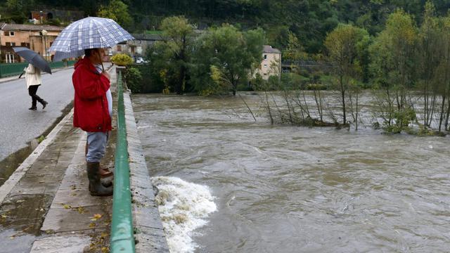 Une personne sur un pont regarde la rivière Eyrieux sortie de son lit à Saint-Laurent-du-Pape en Ardèche, le 4 novembre 2014  [Philippe Desmazes / AFP/Archives]