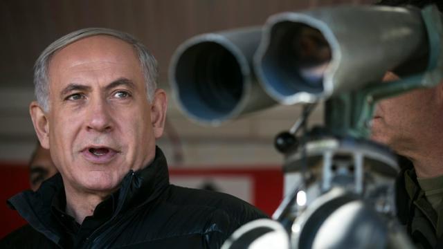 Le Premier ministre israélien Benjamin Netanyahou lors d'une visite sur le plateau du Golan, le 4 février 2015 [BAZ RATNER / POOL/AFP/Archives]